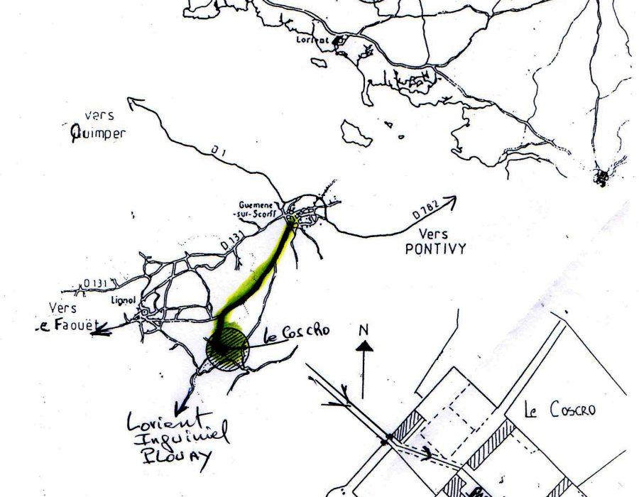 Plan acces chateau Coscro - bretagne